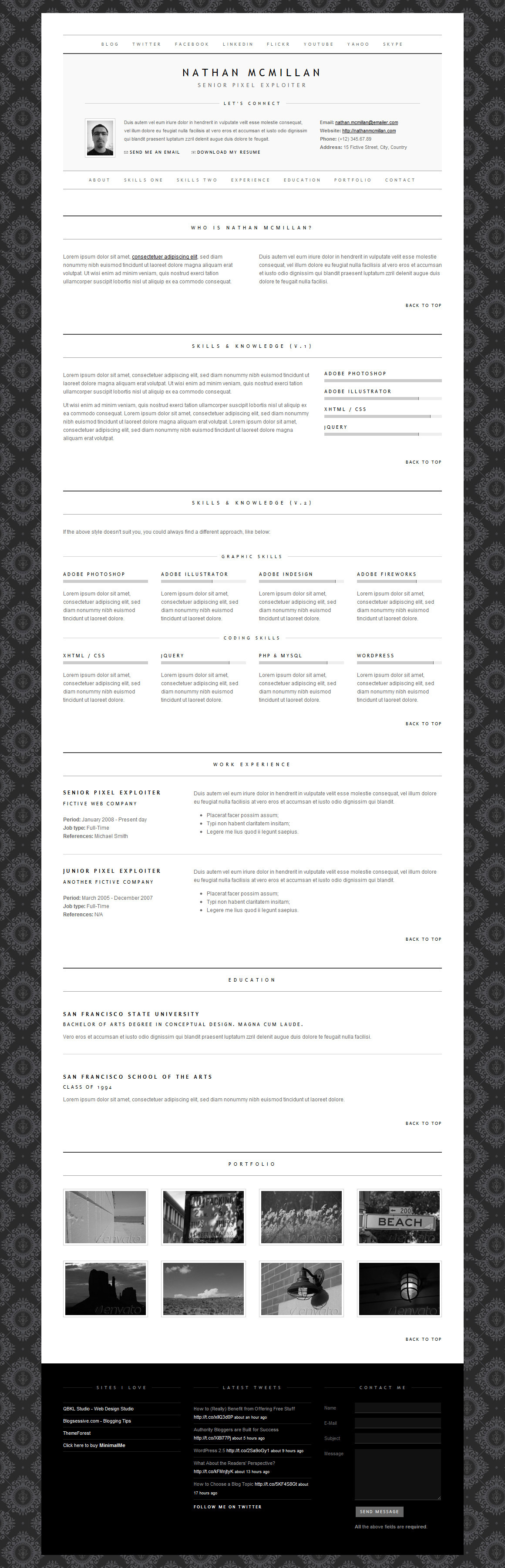MinimalMe - Minimal HTML CV / Resume Template - The packed index.html containing the most useful combinations of styles, functionality and possible resume sections.
