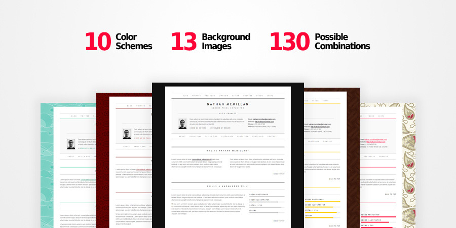 MinimalMe - Minimal HTML CV / Resume Template - 10 color schemes, 13 background images, 130 possible combinations!