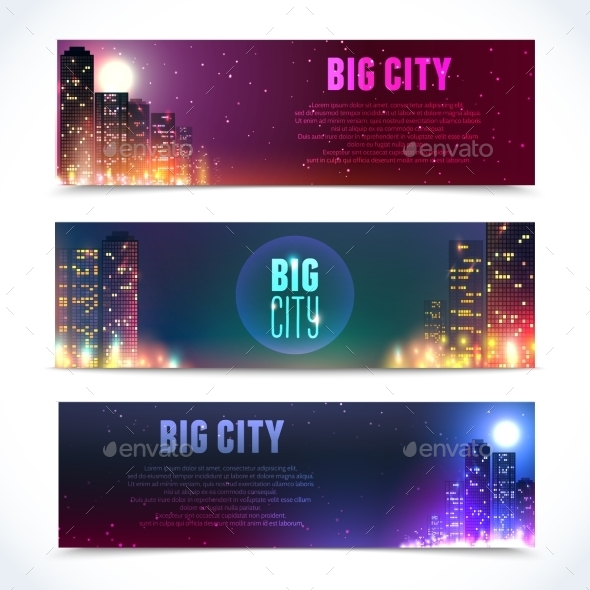 GraphicRiver City at Night Horizontal Banners 8843017