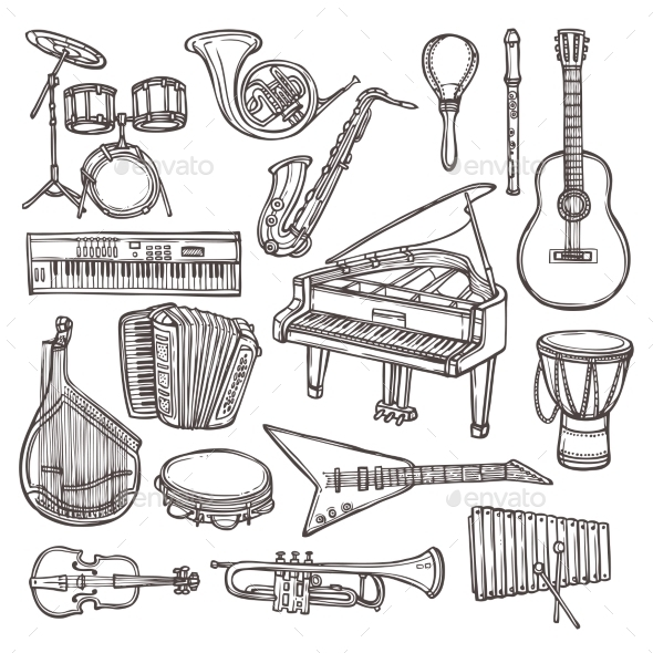 GraphicRiver Musical Instruments Sketch Icon 8843209