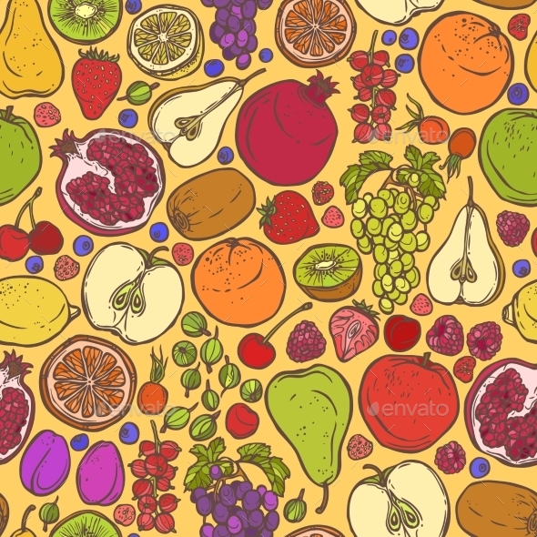 GraphicRiver Fruits and Berries Sketch Seamless Pattern 8843261