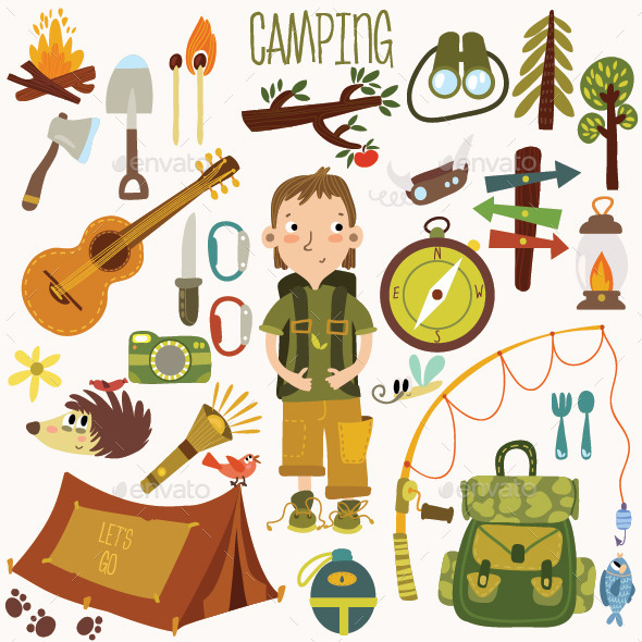 GraphicRiver Bright Camping Equipment 8843367
