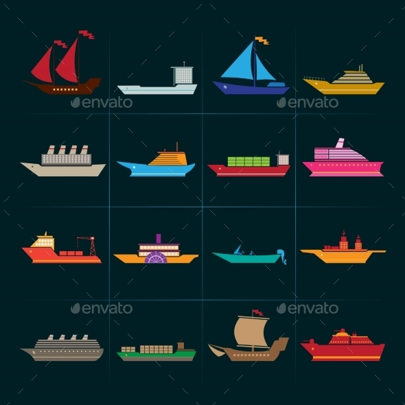 GraphicRiver Ship and Boats Icons Set 8843391
