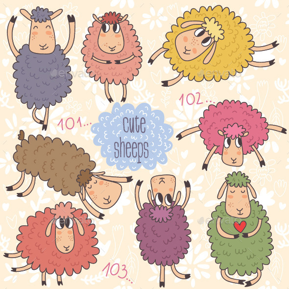 GraphicRiver Cute Cartoon Sheeps Vector Set 8843420