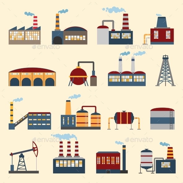 GraphicRiver Industrial Building Icons 8843486