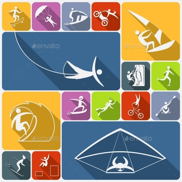 GraphicRiver Extreme Sports Icons Flat 8843498