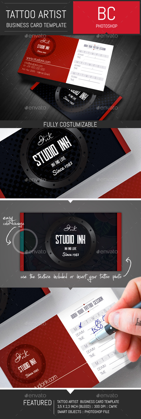 GraphicRiver Tattoo Artist Business Card Template 8843590