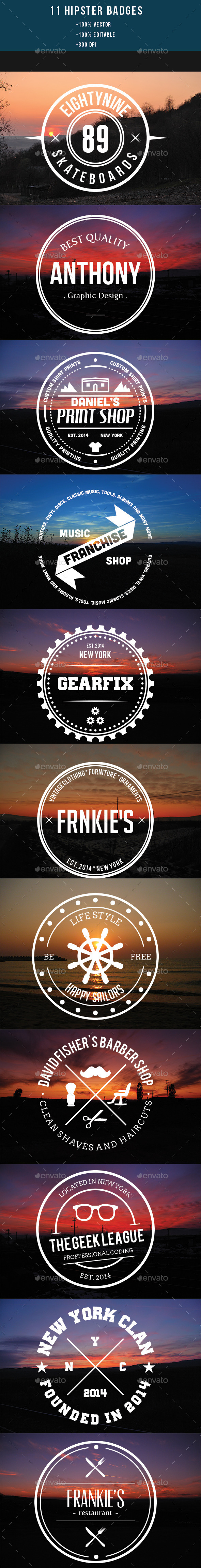 GraphicRiver 11 Hipster Badges 8843609