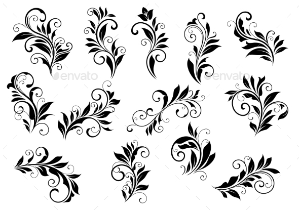 GraphicRiver Retro Floral Motifs and Foliate Vignettes Set 8843781