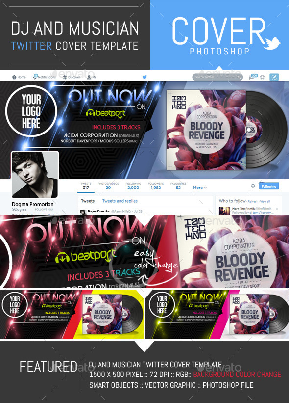 GraphicRiver Dj and Musician Release Twitter Cover Template 8824434