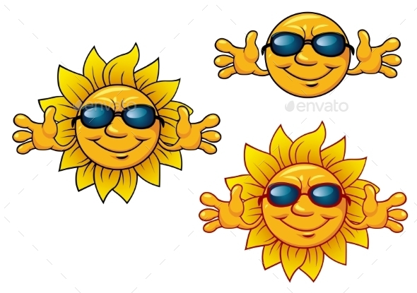 GraphicRiver Cartoon Smiling Sun Characters with Sunglasses 8843784