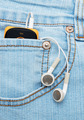 Player with headphones in the pocket of jeans - PhotoDune Item for Sale