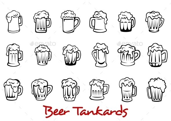 GraphicRiver Beer Tankards Set 8844110