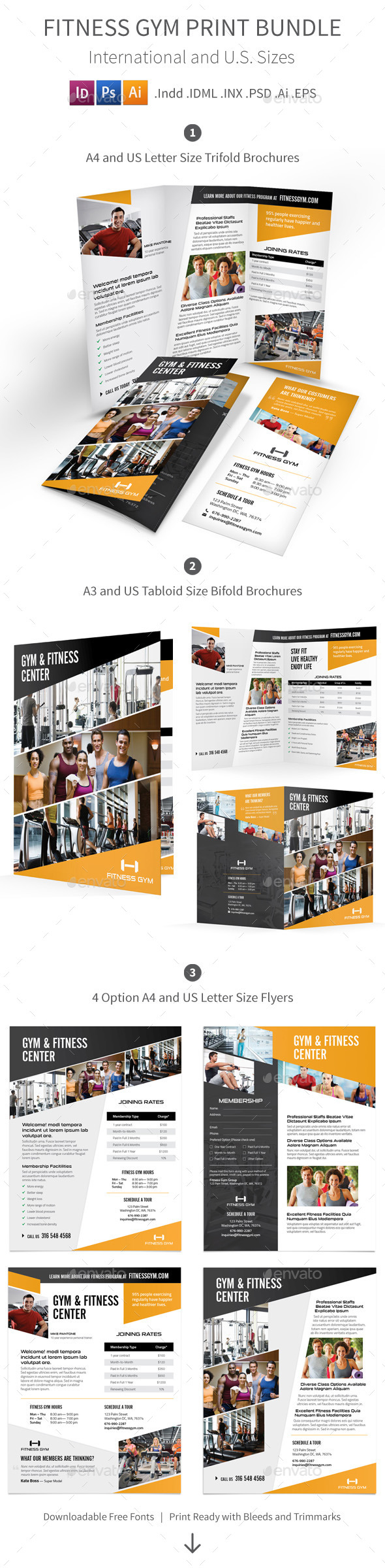 GraphicRiver Fitness Gym Print Bundle 8844134