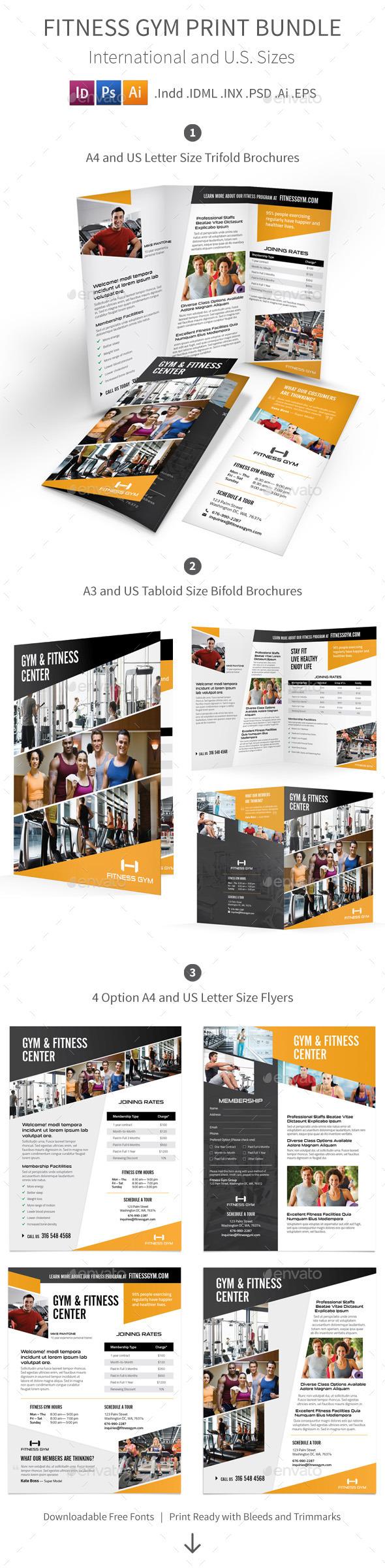 GraphicRiver Fitness Gym Print Bundle 8844134