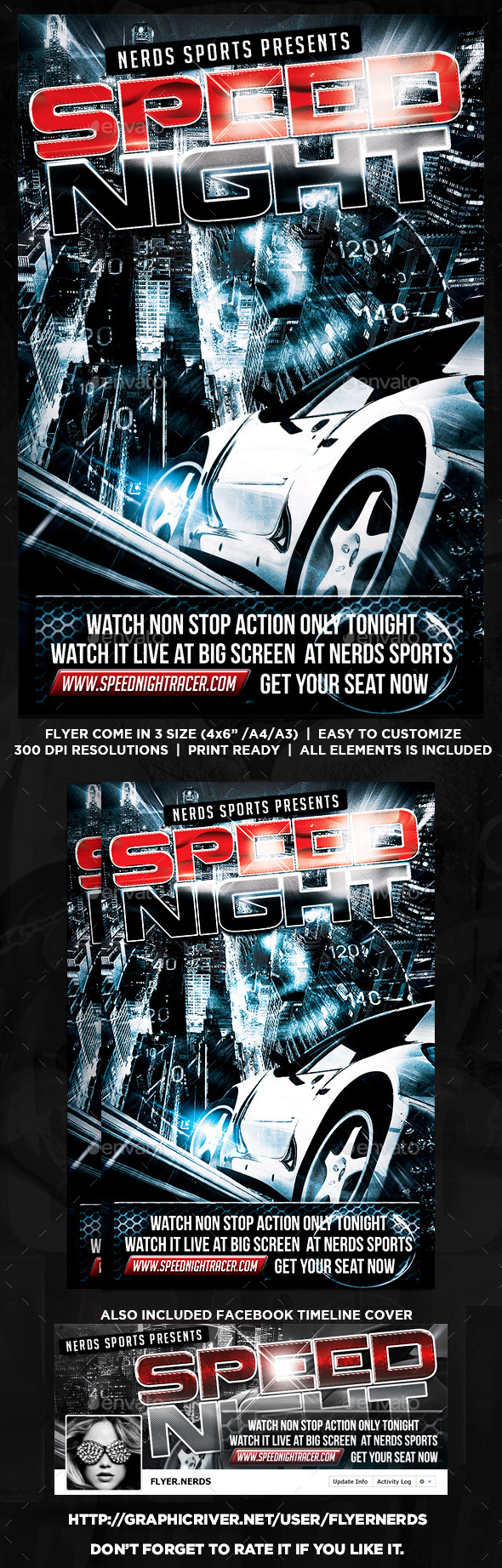 GraphicRiver Speed Night Car Competition Flyer 8834577