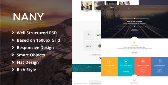 ThemeForest Nany Creative One Page PSD Template 8795076