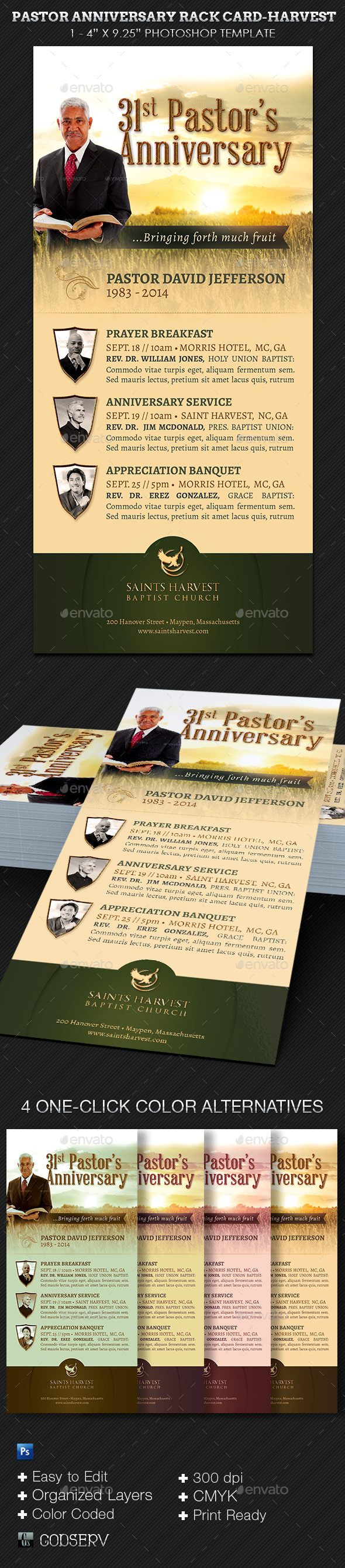 GraphicRiver Pastor Anniversary Rack Card Template-Harvest 8846350