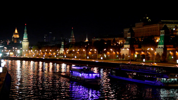 Moscow Kremlin River Night 1
