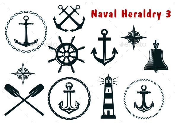 GraphicRiver Naval Heraldry Icons Set 8846570
