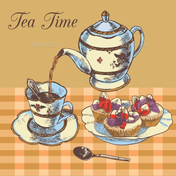 GraphicRiver Teapot and Cup of English Tea 8846750