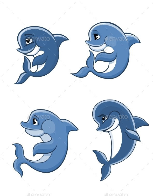 GraphicRiver Cartoon Dolphin Calves Set 8846956