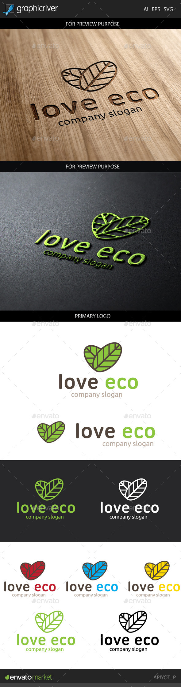 GraphicRiver Love Eco Logo 8847263