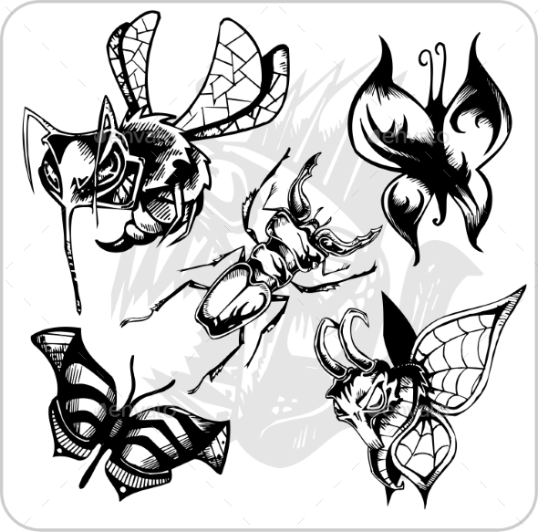 GraphicRiver Aggressive Insects Set 8847339