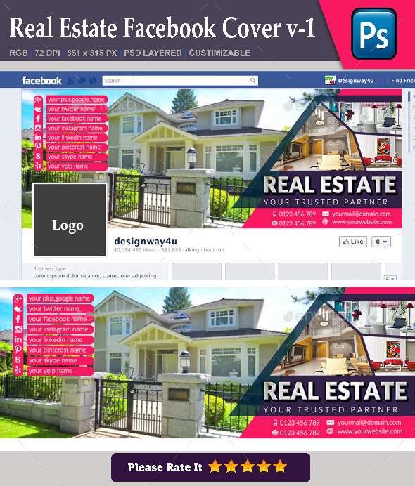 GraphicRiver Real Estate Facebook Cover v-1 8847681