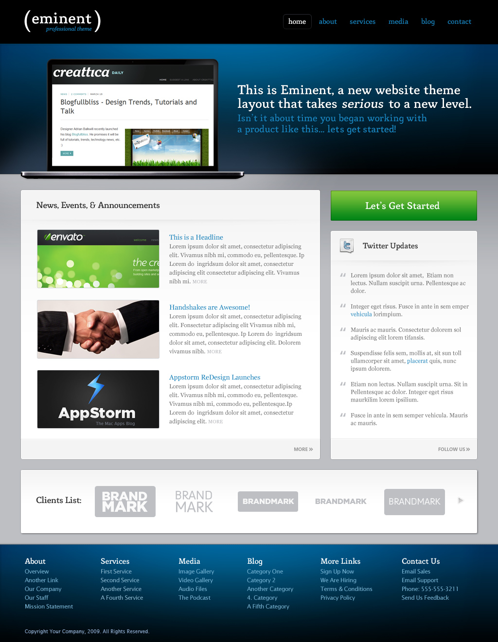 Eminent, an ultra clean & professional layout - This is the primary homepage design.