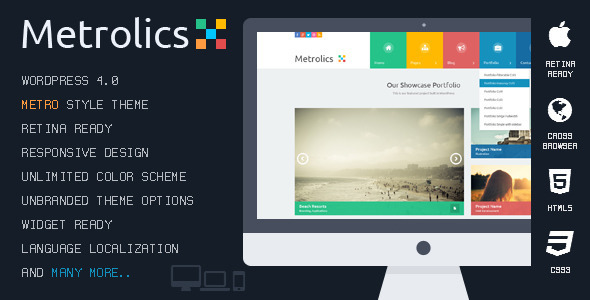 Metrolics - Responsive Metro WordPress Theme - WordPress