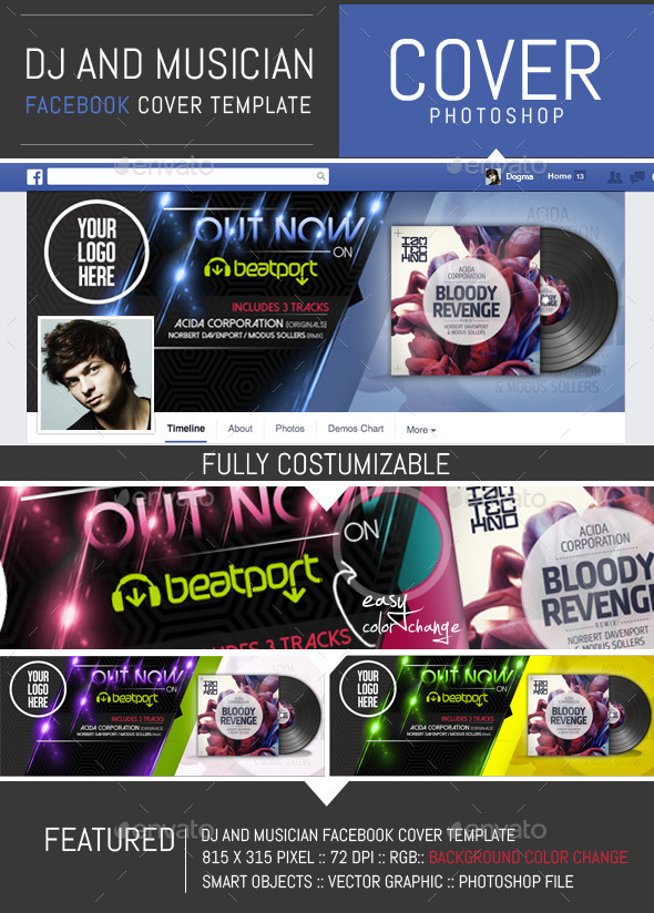 GraphicRiver Dj and Musician Release Facebook Cover Template 8848603
