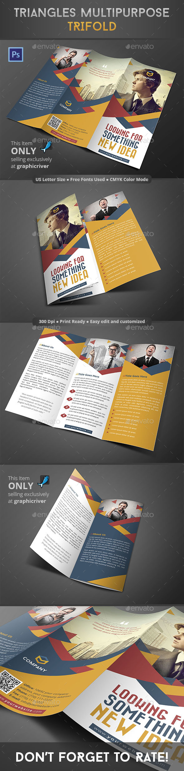 GraphicRiver Triangles Multipurpose Trifold 8848786