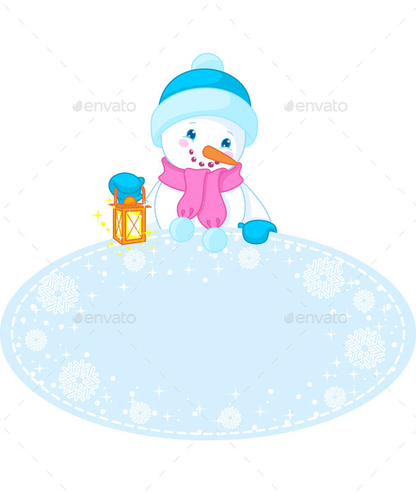 GraphicRiver Christmas Frame and Snowman 8849314