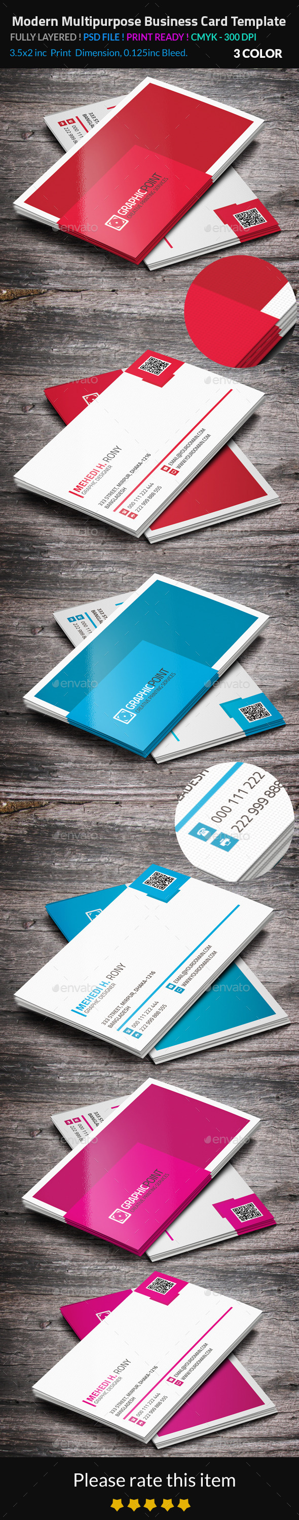 GraphicRiver Modern Multipurpose Business Card Template 8842828