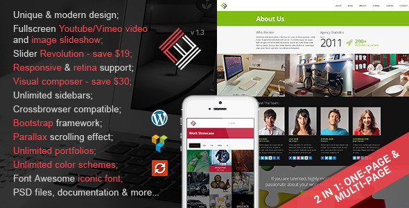 Loft Studio 2 in 1 Parallax Wordpress Theme