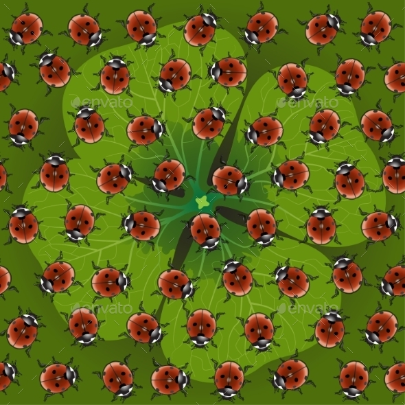 GraphicRiver Seamless Pattern Clover with Ladybug 8850151