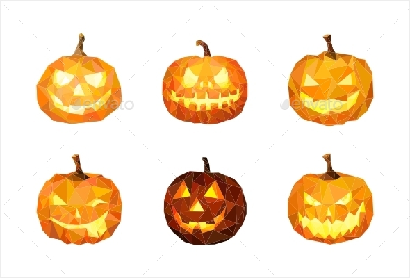 GraphicRiver Geometric Pumpkin For Halloween Set 8850227