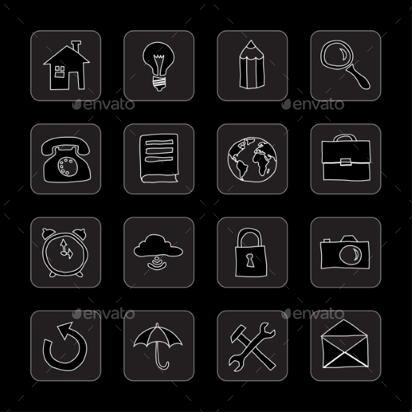 GraphicRiver Hand Drawn Flat Icons 8850329