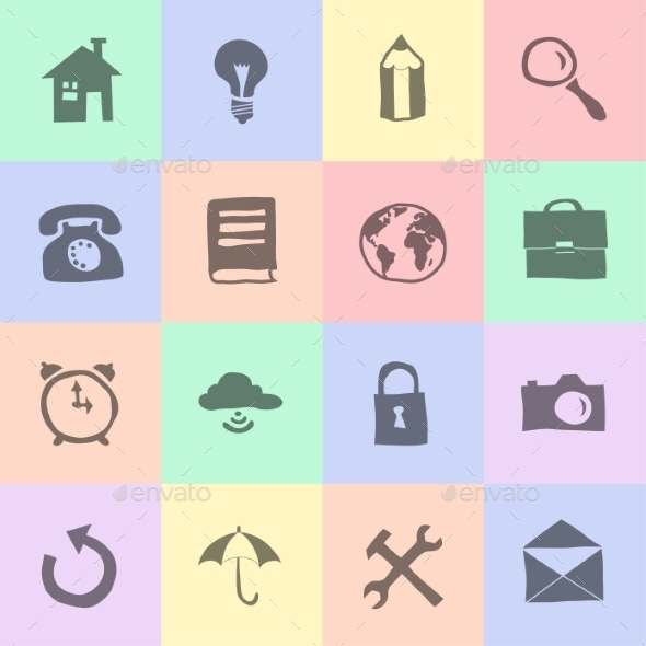 GraphicRiver Hand Drawn Flat Icons 8850330