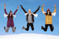 Happy women jumping in winter - PhotoDune Item for Sale