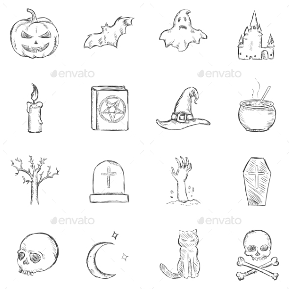 GraphicRiver Halloween Sketch Icons 8850858