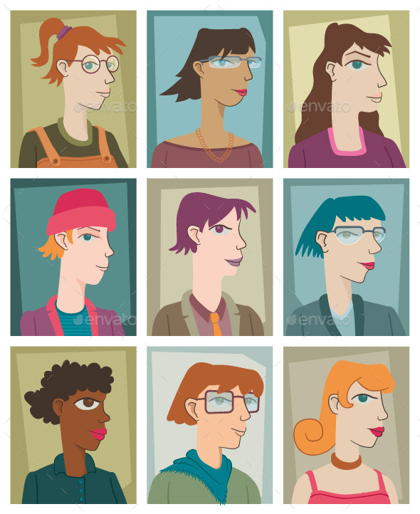 GraphicRiver Nine Young Women 8851115