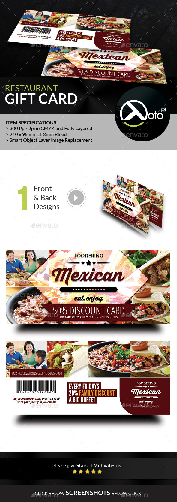 GraphicRiver Mexican Restaurant Promotion Gift Vouchers 8851144