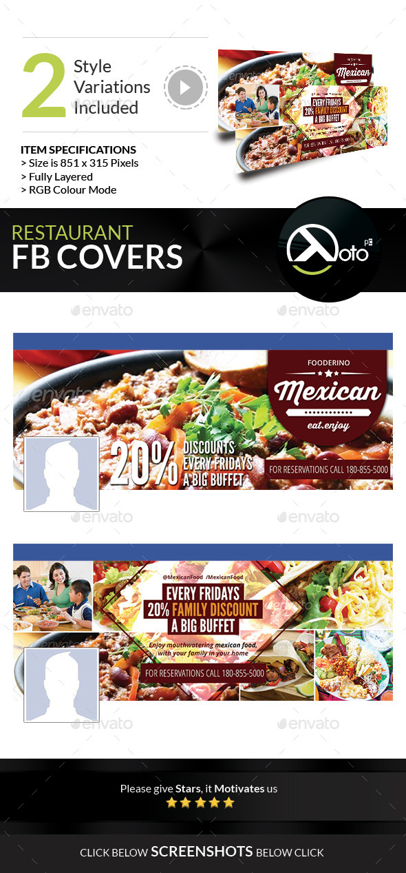 GraphicRiver Mexican Restaurant Promotion FB Covers 8851227