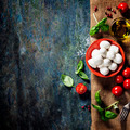 Cherry tomatoes, basil leaves, mozzarella cheese and olive oil f - PhotoDune Item for Sale