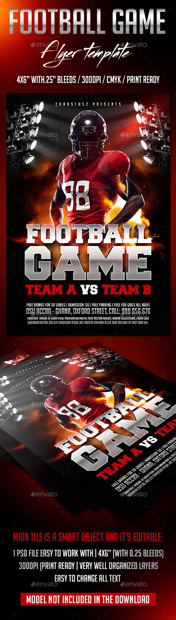GraphicRiver Football Game Flyer Template 8851623