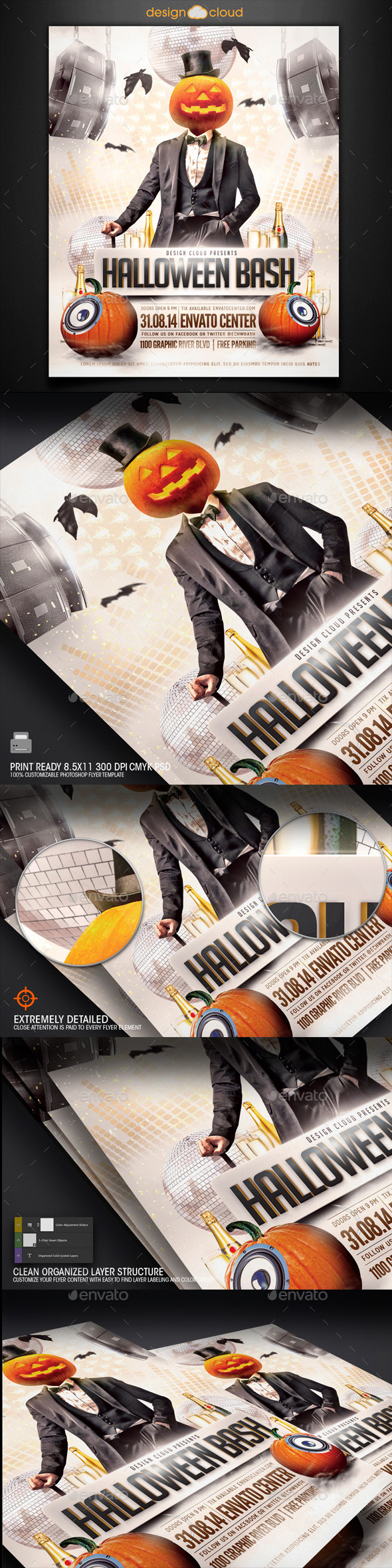 GraphicRiver Halloween Bash Party Flyer Template 8852040