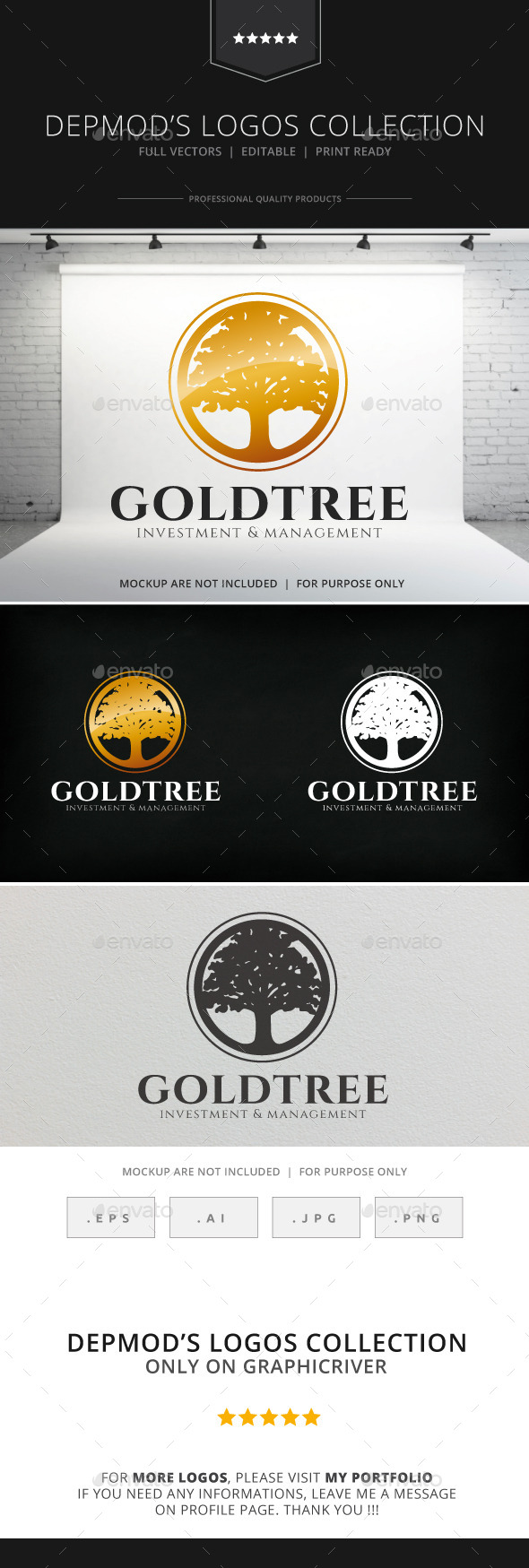 GraphicRiver Gold Tree Logo 8852052