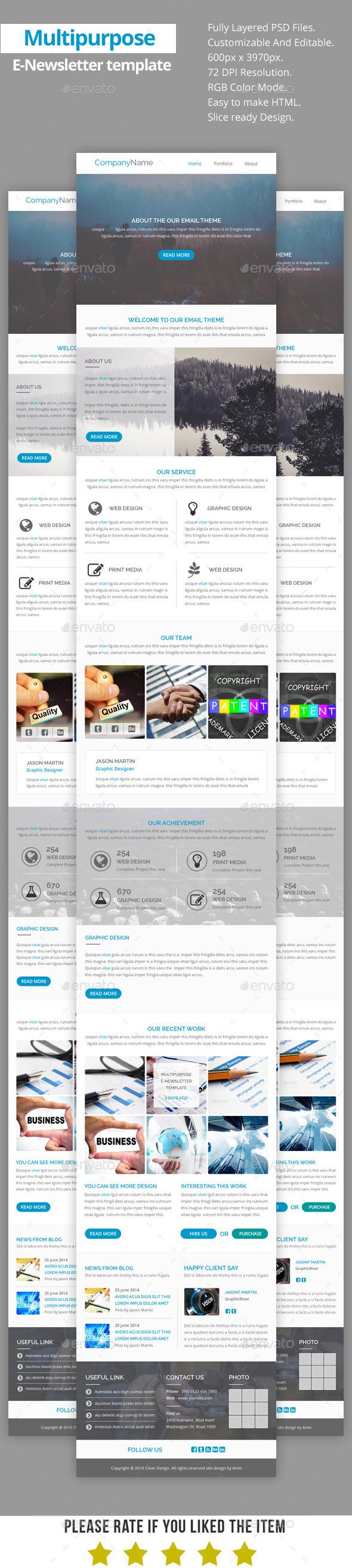 GraphicRiver Multipurpose E-Newsletter Template V17 8852253